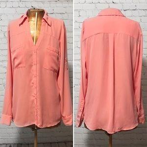 Express Coral Portofino Shirt EUC